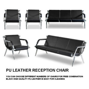 Black Waiting Room Chair Reception Pu Leather Office Airport Bench Guest Sofa