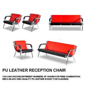 Waiting Room Chair Office Reception Pu Leather Airport Guest Sofa Seat Red black