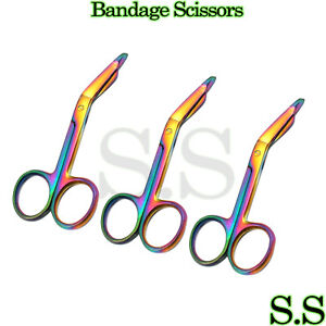 3 Lister Bandage Scissors 3 5 Surgical Medical Instruments Rainbow Multi Color