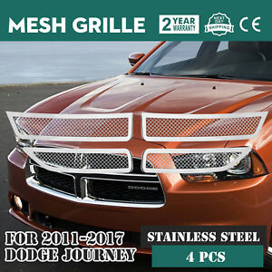 Mesh Grille Fits For 2011 2018 Dodge Journey Insert Chrome Color Set Inserts