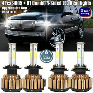 4x 9005 H7 Combo Led Headlight 2280w 273600lm High Low Beam For Lincoln Town Car