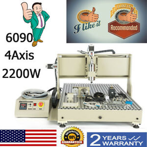 Usb Cnc Router 4axis 6090 2200w Engraver Milling Drilling Carving Machine Vfd 3d