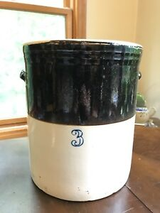 Antique Stoneware Crock Brown And Cream 3 Gallon With Handles Cobalt Blue 3