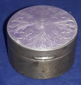 C1870 Sterling Silver Chatelaine Guilloche Enamel Snuff Pill Box R Blackington