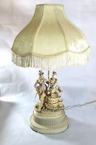 Vintage Capodimonte Victorian Porcelain Table Lamp Man Woman Figurine Shade