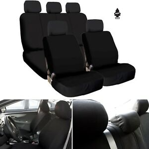 For Ford New Black Flat Cloth Car Truck Seat Covers Full Set Airbag Compatible