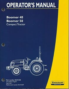 New Holland Boomer 40 50 Compact Tractor Operator Manual 84471929