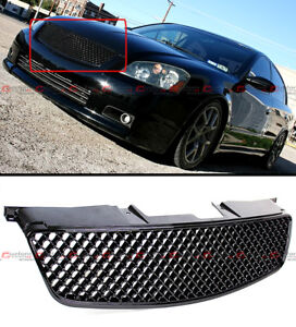 Glossy Black Jdm 3d Diamond Front Hood Mesh Grill Grille For 05 06 Nissan Altima