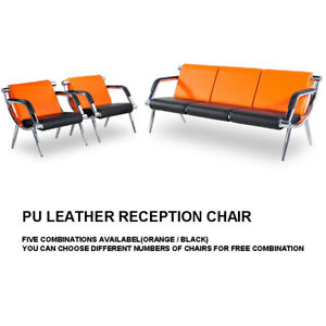 Waiting Room Chair Pu Leather Reception Office Airport Bank Bench Guest Sofa