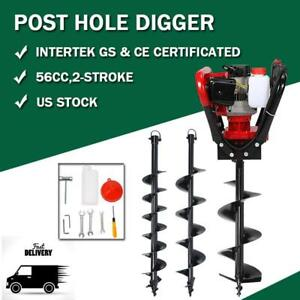 56cc 2 3hp Gas Powered One Man Post Hole Digger Auger Drill Bits 4 6 10