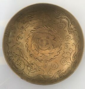 Vintage Antique Brass Dragon Hand Engraved Design Plate Bowl 9 China It 284
