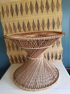 Vintage Wicker Side Table 20 Boho Twisted Rattan Peacock Primitive Stand