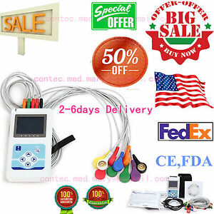 Software portable 12 channel 24h Ecg Ekg Holter Analyze System Recorder Monitor