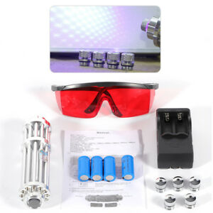 High Power Blue Laser Pointer Burning Light 445nm 5w Beam Pen 5 Caps Us Stock