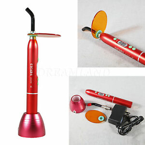 Red Dentist Dental Led Curing Light Lamp Wireless Cordless Resin Cure 10w 1800mw