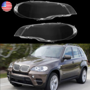 2x For Bmw X5 E70 2007 2012 Car Headlight Lens Lamp Cover Lampshade Replacement
