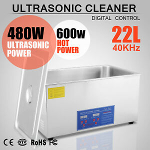 New 22l Ultrasonic Cleaner Stainless Steel Industry Heated Heater W timer