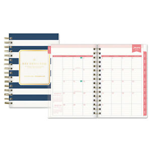 Blue Sky Day Designer Daily monthly Planner 5 X 8 Navy white 2018 103623