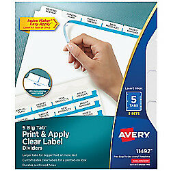 Avery r Big Tab tm Print Apply Clear Label Dividers With Index Maker r Easy