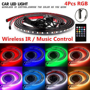 4pcs 7 Colors Led Strip Under Car Tube Underglow Underbody System Neon Light Kit