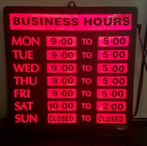 Newon Led Lighted Business Hours Sign Model 4484 10 Foot Cord