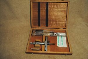Vintage Nsk Japan Micrometer Depth Gauge Rods In Wood Case