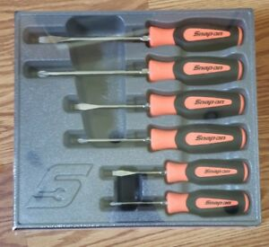Snap On Tools Screwdriver Set Orange Soft Grip Combination 6 Pc Set Sgdx60bo