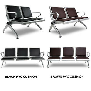 Waiting Room Reception Chair Airport Office Pvc Leather Cushion Black brown New
