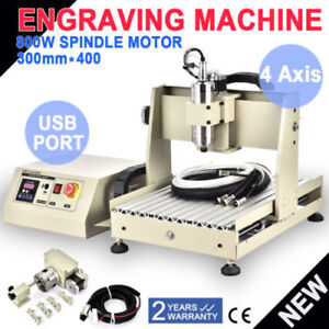 Usb Four 4axis 3040 800w Cnc Router Engraver Engraving Milling Machine Vfd Mach3