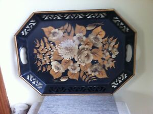 Large 13 5 X18 5 Midcentury Antique Tole Painted Metal Tray Floral