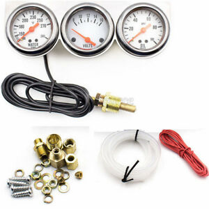 2 52mm Chrome Volt Water Oil Pressure Triple 3 Gauge Set Gauges Kit Universal
