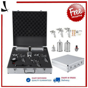 3 Hvlp Auto Paint Air Spray Gun Kit Detail Basecoat Car Primer Clearcoat Case