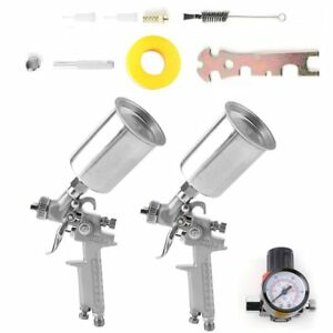 Professional 2pc Hvlp Air Spray Paint Gun Set Gravity Car Auto Painting Kit Ex