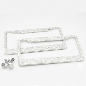 2pcs Metal Chrome Diamond License Plate Frame Metal With Mounting Screws For Bmw