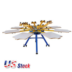Us 8 Color 8 Station Screen Printing Machine Press T shirt Printer Equipment Diy