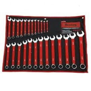 Heavy Duty Red Chrome Vanadium 25pc Combination Metric Spanner Wrench Ring Set