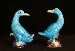 Pair Of Antique Chinese Porcelain Turquoise Blue Duck Figurines 4 1 8 Tall
