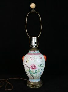 Table Lamp Made Of Chinese Antique Famille Rose Vase Peony Flower Bird Butterfly