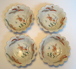 4 Antique Chinese Famille Rose Phoenix Bird Scalloped Edge Rice Bowls 5 75 Wide