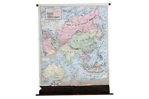 Vintage Cram S Pull Down Map Of Asia Australia