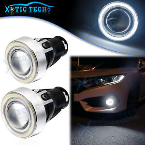 Led Fog Lights Projector Lens Angel Eyes Halo Ring Drl Kit For Honda Civic 16 19