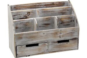 Rustic Desk Organizer Office Wooden Mail Rack Tray Desktop Antique Vintage Wood