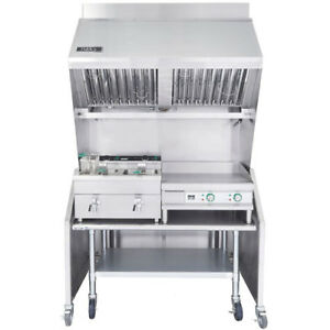 Ventless 4ft Package 30lb Induction Fryer 24 Griddle Table