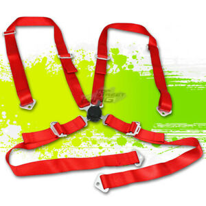 Red 2 Adjustable Strap Racing Seat Belts belt Safety Harness 4 Point Camlock