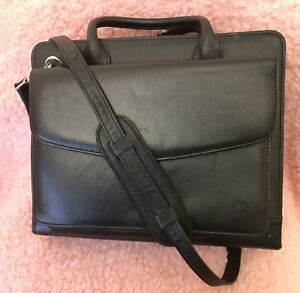 Franklin Covey Black Full Grain Nappa Leather Planner Case Organizer 11 X 9
