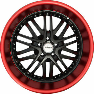 4 Gwg Wheels 18 Inch Black Red Lip Amaya Rims Fits Honda Accord V6 2000 2002