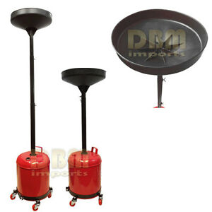 Portable 5 Gal Gallon Oil Waste Drain Draining Tank Dolly Funnel Lift Drum Pan