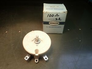 Memcor Type R 100 Ceramic Rheostat Variable Resistor 100 Ohms 2 Max Amps Nos Usa