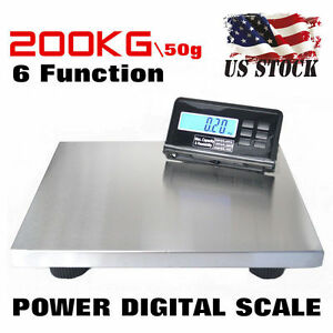 440lbs 200kg Lcd Ac Digital Floor Platform Scale Bench Postal Shipping Weight