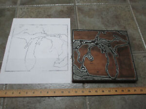 Vintage Michigan Map Letterpress Print Blocks Relief Carved Face Hardwood